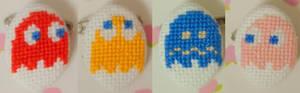 Pacman Ghosts cross stitch pin