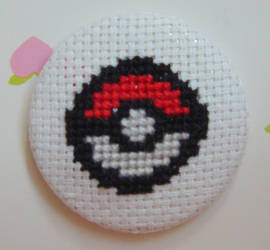 Poke Ball cross stitch pin