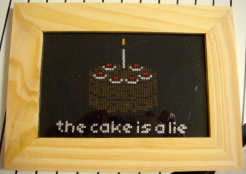Portal Cake Cross Stitch by pixel8bit