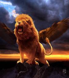 Winged lion by HauntedPen