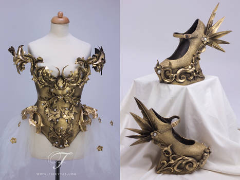Baroque armor dress and shoes