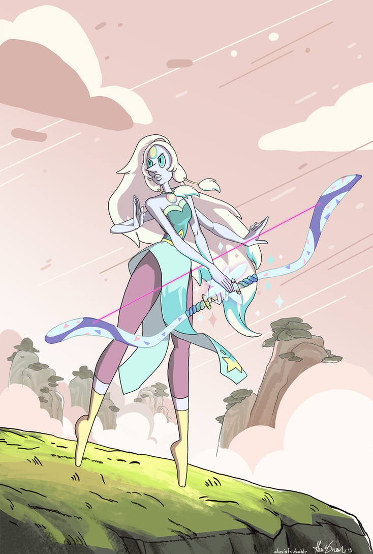 Opal is my favourite gem, including the non-fusions! Her arrival episode was so bad-ass, I started drawing this right after I watched it!