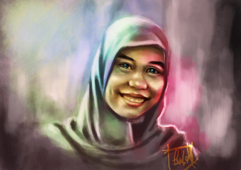 hijab girl painting by kancutboy