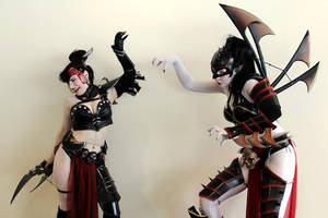 Helica Venomkiss and Lelith Hesperax 01 by static-sidhe