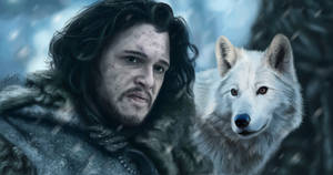 Jon Snow and Ghost by Lukecfc