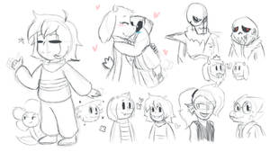 Undertale sketches by NecroGhostMango