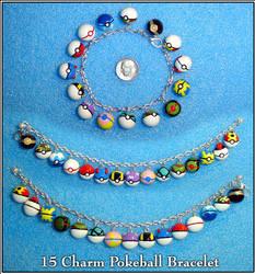 Pokemon - 15 Charm Pokeball Bracelet by YellerCrakka