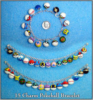 Pokemon - 15 Charm Pokeball Bracelet by YellerCrakka