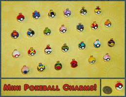 Pokemon - Mini Pokeball Charms by YellerCrakka
