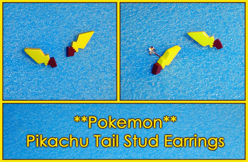 Pokemon - Pikachu Tail Stud Earrings by YellerCrakka