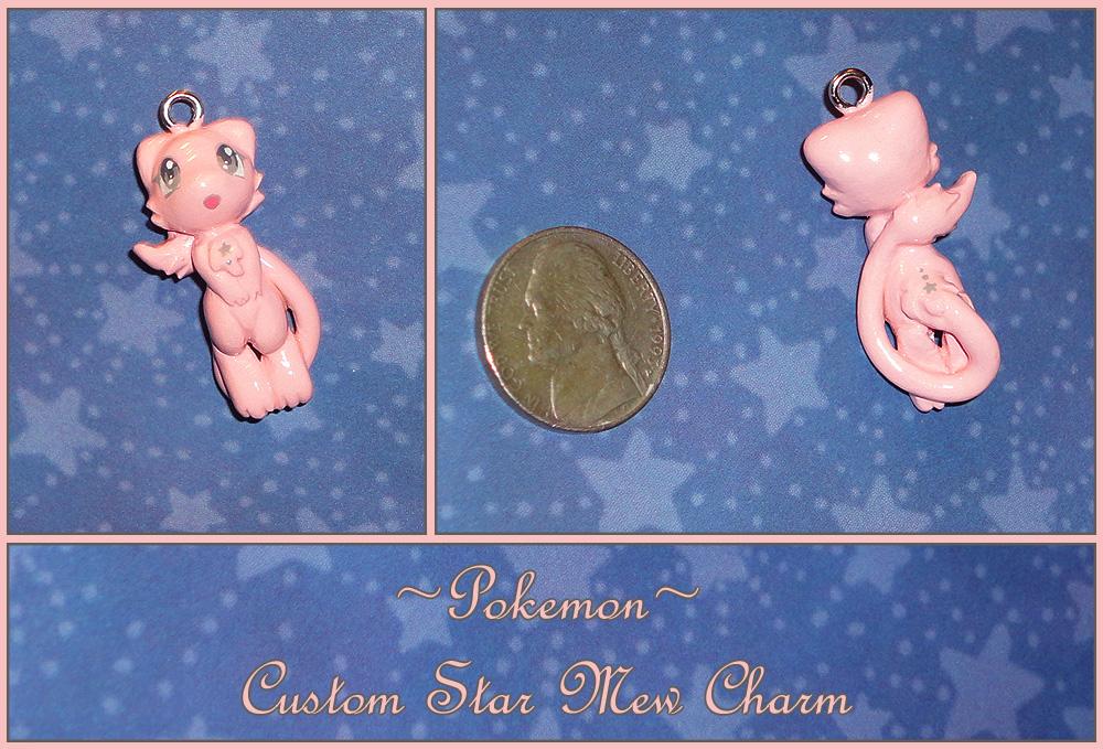 Pokemon - Custom Star Mew Charm Pendant by YellerCrakka