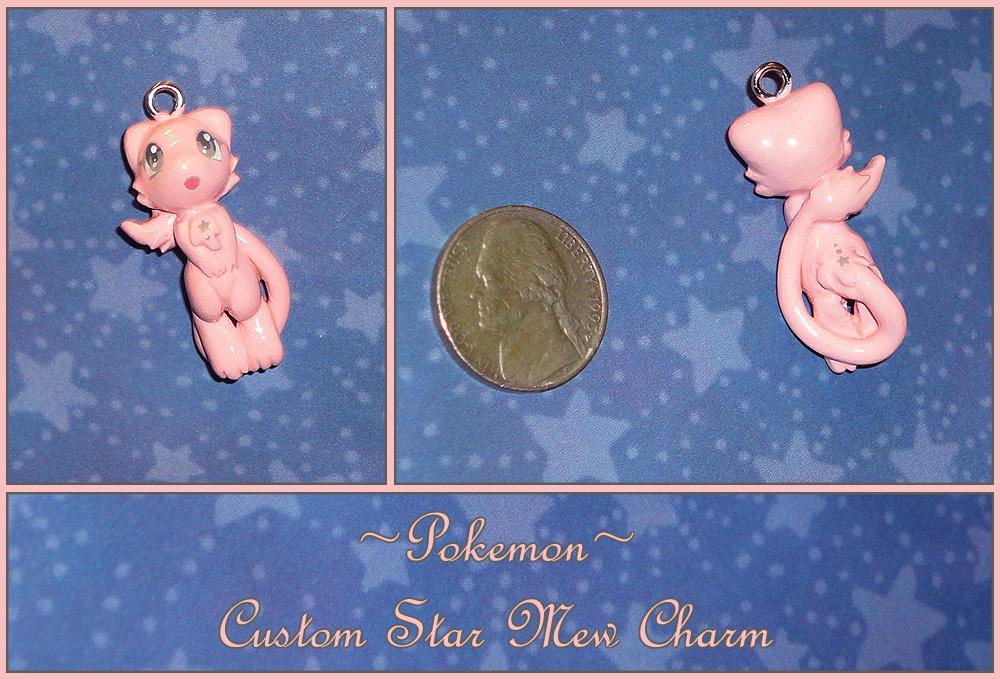 Pokemon - Custom Star Mew Charm Pendant by YellerCrakka