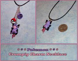 Pokemon - Grumpig Charm Necklace with Pokeball by YellerCrakka