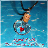Zelda - Heart Container Love Potion Necklace by YellerCrakka