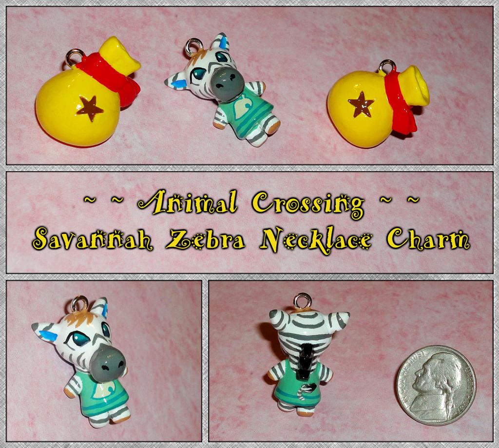 Animal Crossing - Savannah Zebra Necklace Charm by YellerCrakka