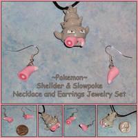 Pokemon - Slowbro Necklace Slowpoke Tail Earrings by YellerCrakka