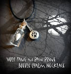 Wolf Fang and Paw Print Bottle Charm Necklace