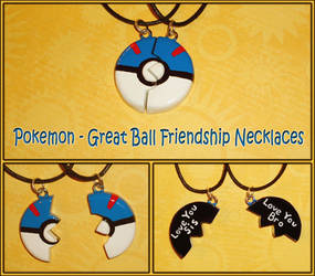 Pokemon - Great Ball Pokeball Friendship Necklaces by YellerCrakka