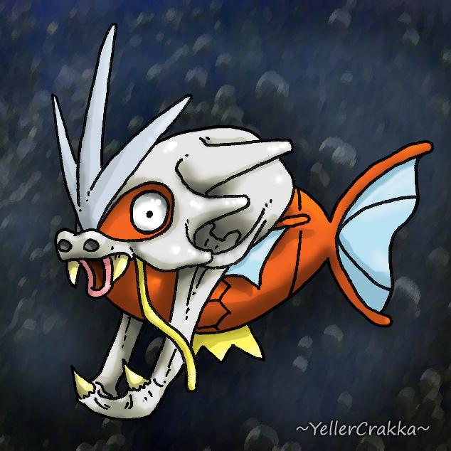 Pokemon Halloween - Magikarp with Gyarados Skull by YellerCrakka