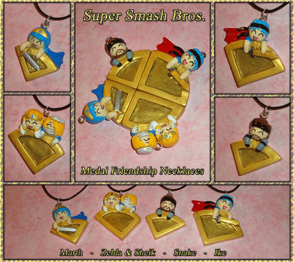Super Smash Bros 4 - Medal Friendship Necklace Set by YellerCrakka
