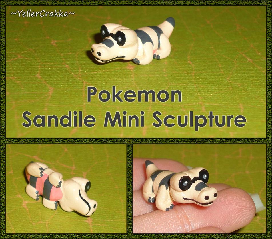 Pokemon - Sandile Mini Sculpture - Handmade by YellerCrakka