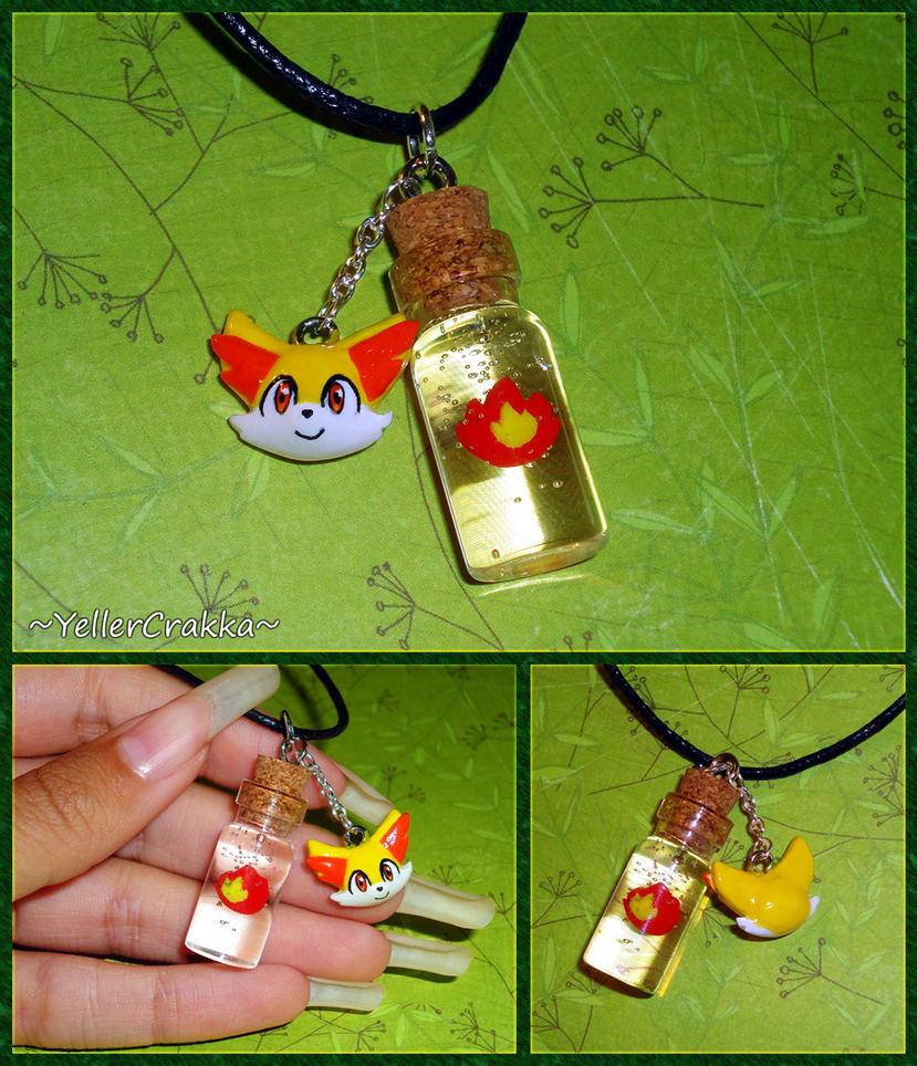 Pokemon - Fennekin and Fire Type Bottle Necklace by YellerCrakka