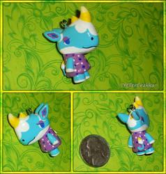 Animal Crossing - Petunia the Rhino Necklace Charm by YellerCrakka
