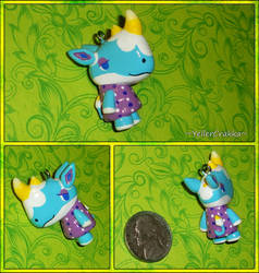 Animal Crossing - Petunia the Rhino Necklace Charm by YellerCrakka