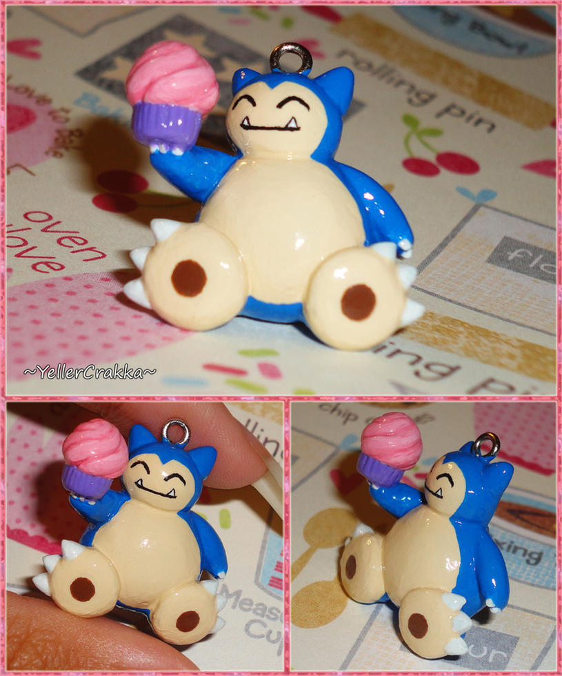 Pokemon - Snorlax with Cupcake Necklace Charm by YellerCrakka