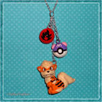 Pokemon - Arcanine and Pokeball Charm Necklace