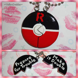 Pokemon - Team Rocket Pokeball Friendship Necklace by YellerCrakka
