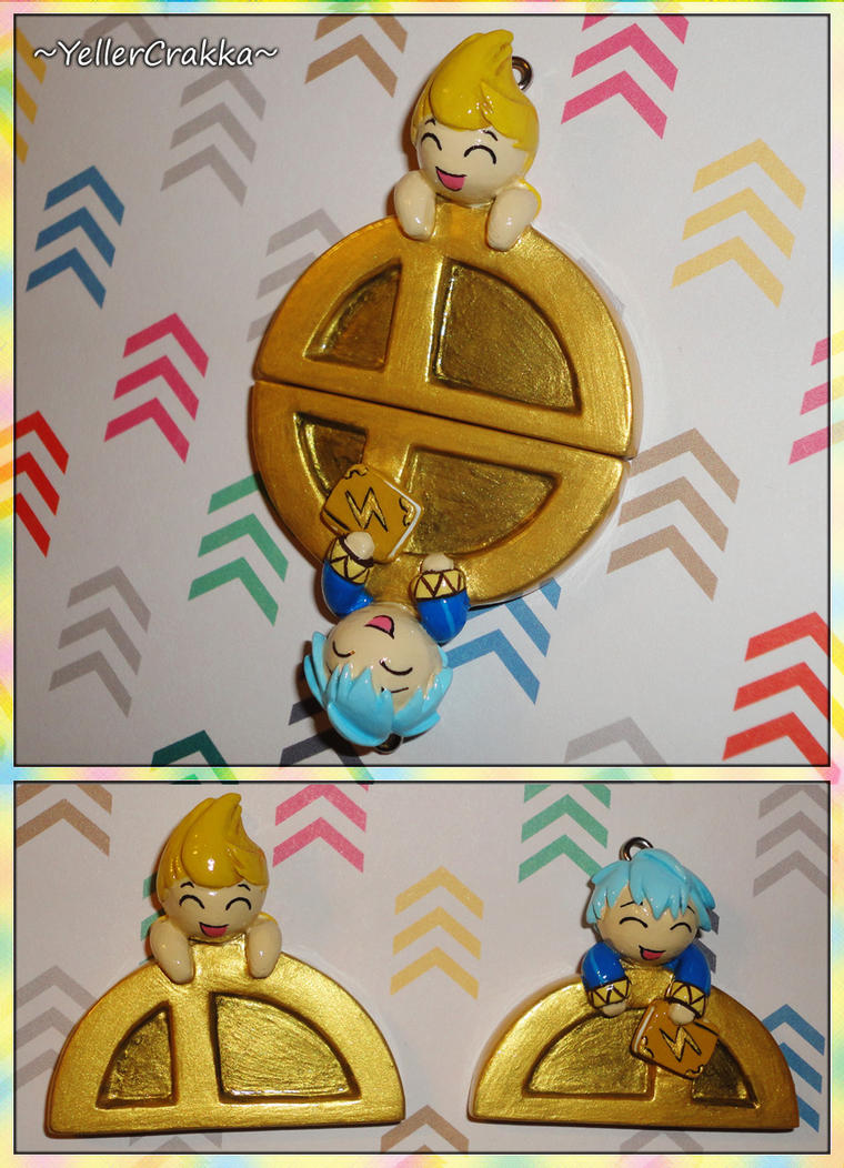 Super Smash Bros - Medal Friendship Necklace Pair by YellerCrakka