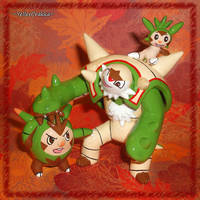 Pokemon Chespin Quilladin and Chesnaught Sculpture