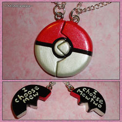 Pokemon Pokeball Friendship Necklace I Choose Mew by YellerCrakka