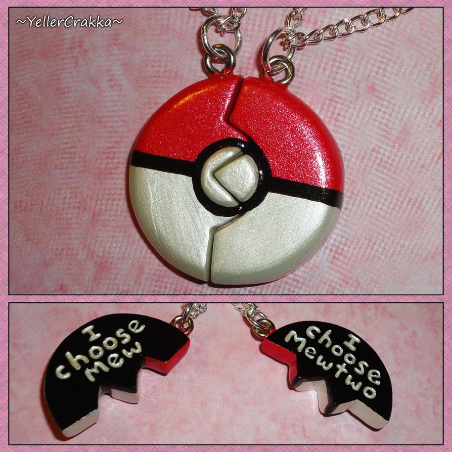 Pokemon Pokeball Friendship Necklace I Choose Mew by YellerCrakka