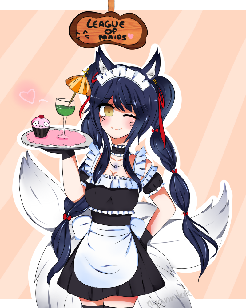 League of Legends - Maid Ahri by Nyanndere
