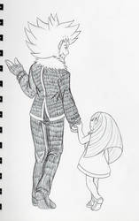 Inktober Day 1: Father and Daughter by Pennyadodumuss