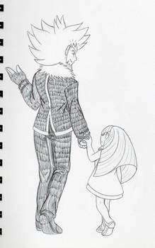 Inktober Day 1: Father and Daughter