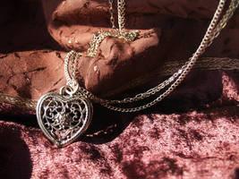 Triple Chain Necklace in Heart by AelisLaurel