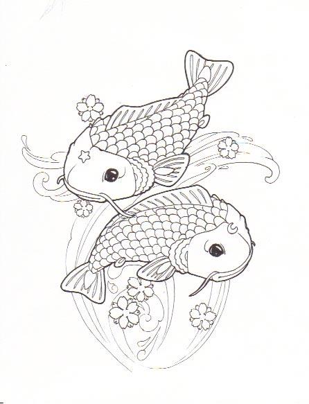 Pisces koi tattoo line by azhidahaki on deviantart for Koi fish pisces