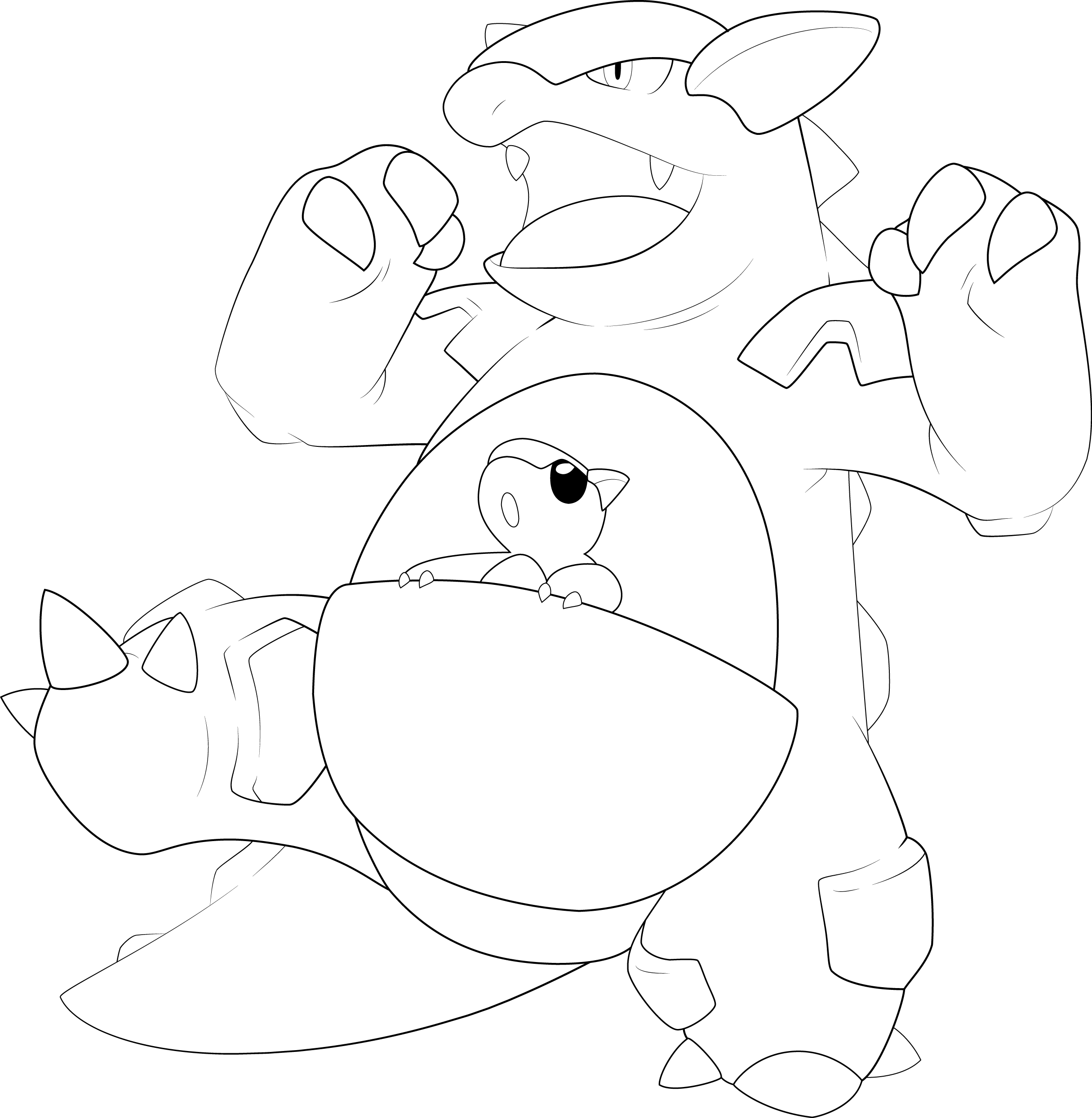 Putty Line Drawing Q : Kangaskhan line art by alcadeas on deviantart