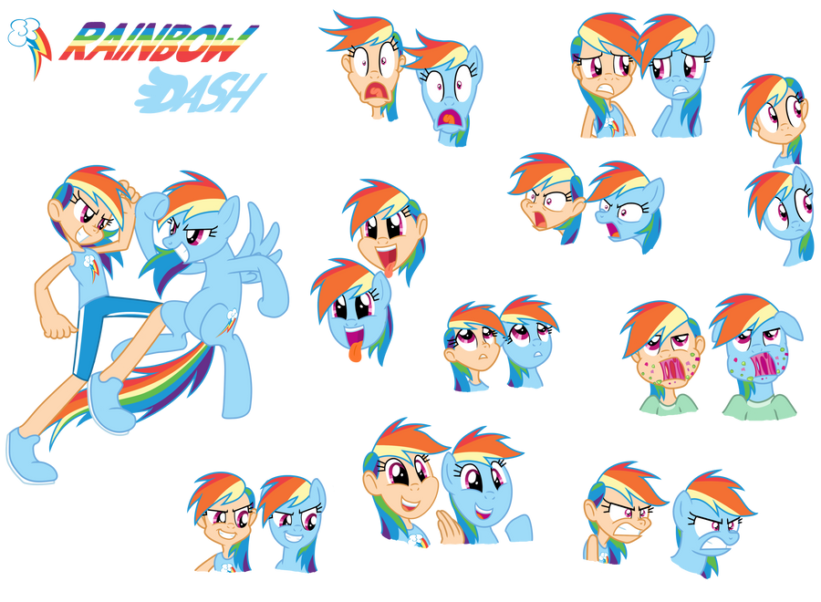 Rainbow Dash - Pony/ Human by Trinityinyang