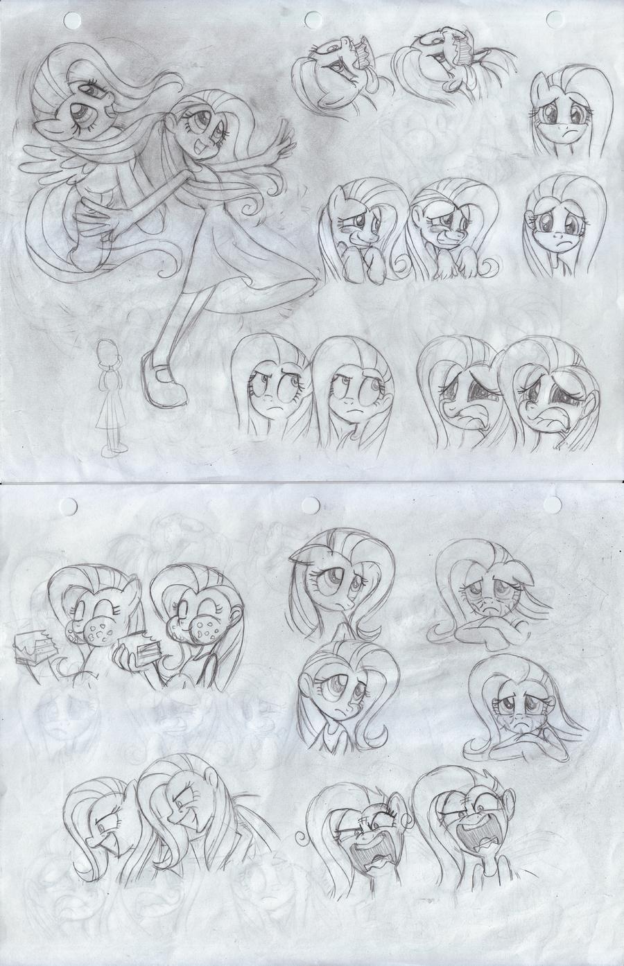 Fluttershy- Pony/ Human (Original sketch) by Trinityinyang