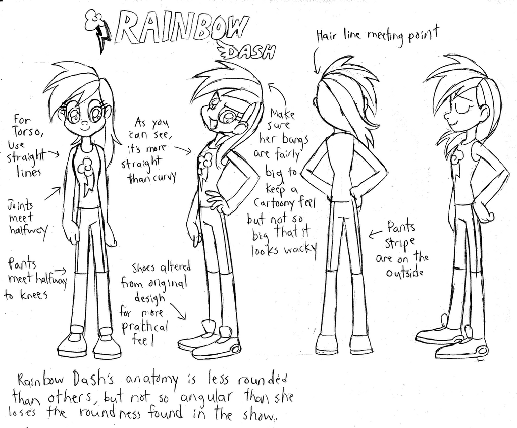 Rainbow Dash (Human) - Model Sheet by Trinityinyang