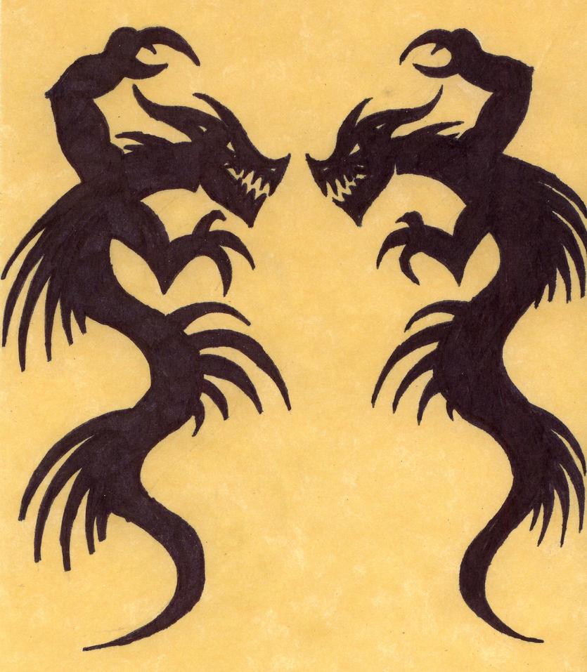 twin dragon by soul feeder on deviantart. Black Bedroom Furniture Sets. Home Design Ideas