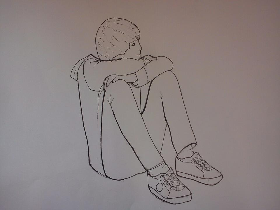 Line Drawing Boy : Line drawing affect of a doctor who stops working at his computer