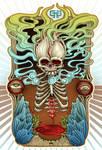 retro smoking skull poster