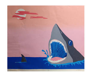 Mr Shark Screen print by zapfogldorf