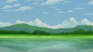 Lake and Mountain Anime Background