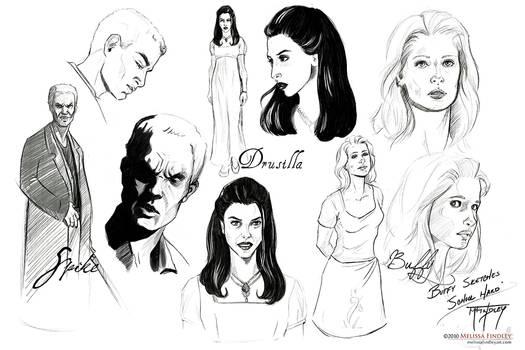 BtVS Sketches: Spike Dru Buffy